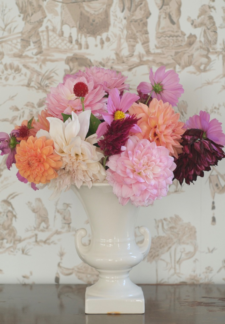 dahlias-and-cosmos-in-white-vase_onthresholds