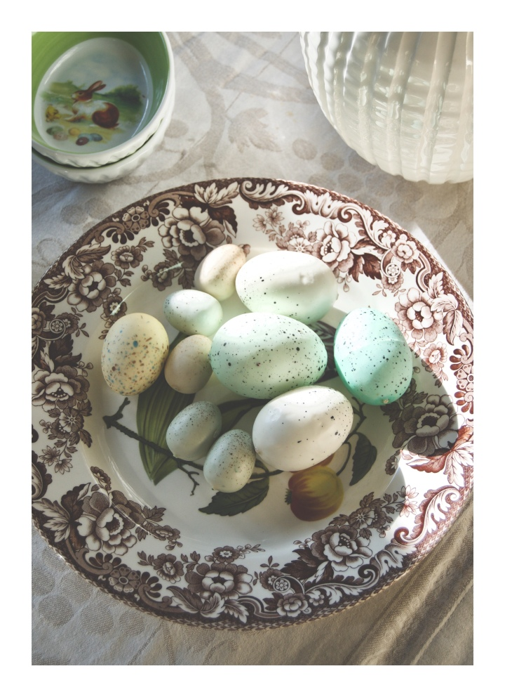 Easter eggs on Spode plate