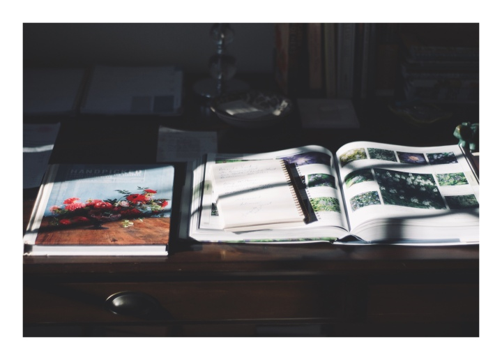 Onthresholds_my desk with books